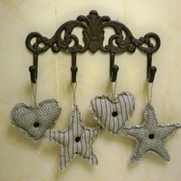Primitive Lone Stars and Stuffed Hearts Ornaments - Set of 4