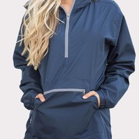 Dark Blue Pockets Zipper Hooded Long Sleeve Jacket