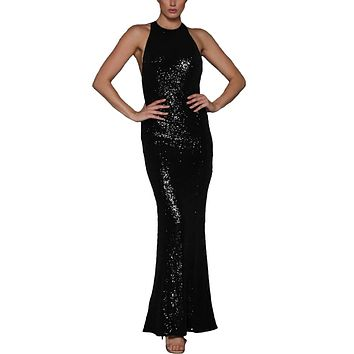 made2envy Crossover Low Back Sequin Gown