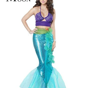 MOONIGHT Hot Sale Women Mermaid Costume Halloween Cosplay Mermaid Dress Romantic Beauty Sea Maid Sexy Dress Women Mermaid
