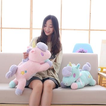 55cm Cute pink/blue stuffed PP Cotton Horse plush toys Stuffed Animals Unicorn Horse cloth doll soft Plush Toys For Children