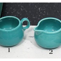 Fiesta Turquoise Creamer . HLC 1980s . Fiestaware Homer Laughlin . Made in USA . Vintage
