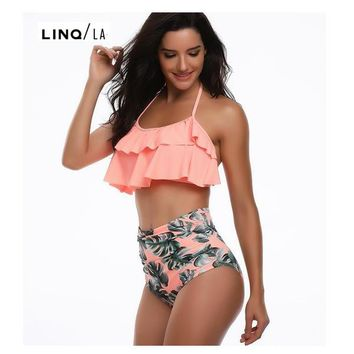 Mother and Daughter Ruffled Halter High Waist Bikini Set