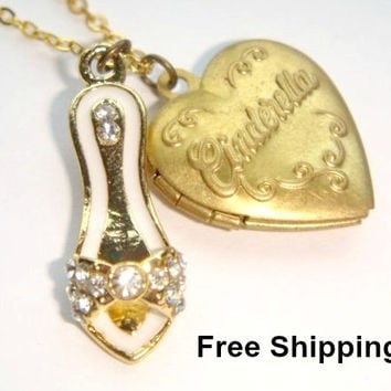 Cinderella Gold Heart Locket Necklace - Crystal Glass Slipper - Princess Jewelry - Fairytale Jewellery - Memory Locket - Kids Girls Jewelry