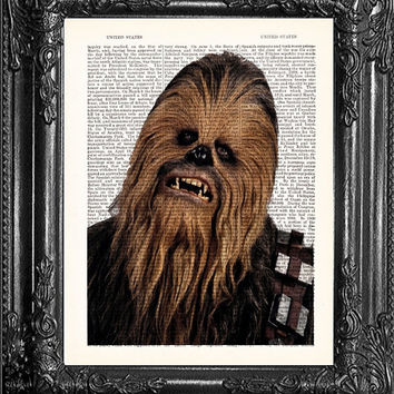Chewbacca-Star Wars Movie Poster-Boyfriend Gift- Dictionary Print -Home Wall Decor-Husband Gift-Star Wars Movie Poster-Dorm Decor-Code Sw020