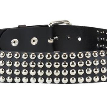 "4-Row Silver Round Studs Black Leather Belt 2"" Wide"