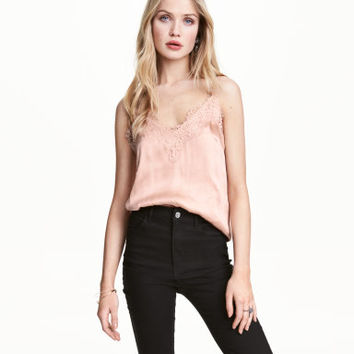 H&M Satin Camisole Top with Lace $29.99