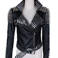 Leather Jacket Women Punk Rivets Studded Motorcycle Leather Spiked Leather Jackets 2017 Spring Classic Heavy Metal Rivets