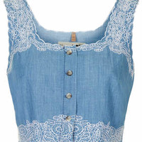 MOTO Embroidered Crop Top - Blue
