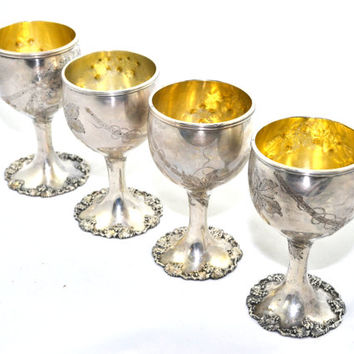 Silver Goblets Silver Wine Goblets Silver Plated Goblets Silver Cordial Cups Water Goblets Wedding Goblets Wedding Decor