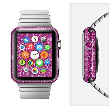 The Bright Pink Glitter Full-Body Skin Set for the Apple Watch
