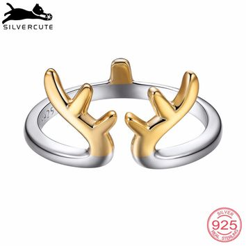 SILVERCUTE Two Tone Elegant Deer Antler Open Finger Ring For Women Authentic 925 Sterling Silver Fine Jewelry Rings SCR6032BK