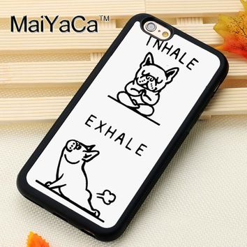 MaiYaCa Funny French Bulldog Printed Mobile Phone Cases For iPhone 6 6S Plus 7 7 Plus 5 5S 5C SE Soft Rubber Back Cover Shell
