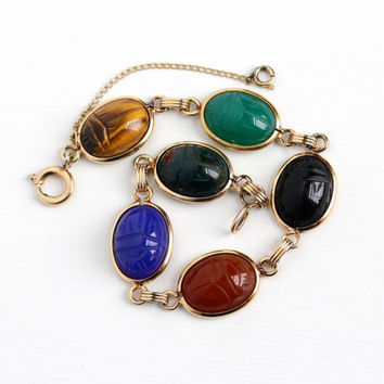 Vintage 12k Yellow Gold Filled Colorful Scarab Bracelet - Retro Carved Beetle Gem Black Onyx Bloodstone Egyptian Revival Good Luck Jewelry