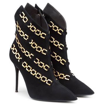 Giuseppe Zanotti New Black Suede Gold Link Ankle Booties W/Box