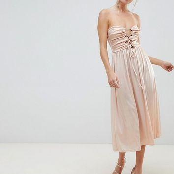 ASOS DESIGN bandeau slinky cut out midi dress at asos.com