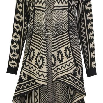 Forever Women's Aztec Diamond Print Knitted Waterfall Cardigan:Amazon:Clothing