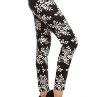 White Rose Floral Black Leggings