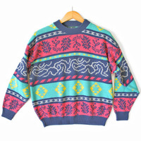Vintage 80s Tribal Aztec Leaves Tacky Ugly Sweater - The Ugly Sweater Shop