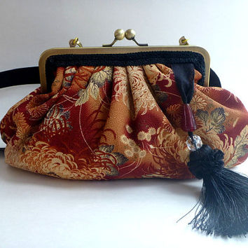 Pleated handbag, cross body, clutch, Japanese fabric, removable strap, bohemian, rust, floral, Asian