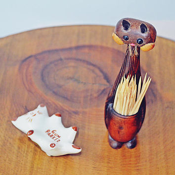 Gum Parker Cat, Wood Cat Toothpick Holder, Cat Figurines