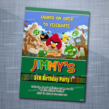 Angry Bird Birthday Party, Birthday Party, Invitation Card Design
