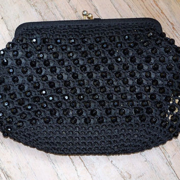 Vintage Black Wood Beaded Purse Made in Italy Wedding Bridal Party Prom Gift