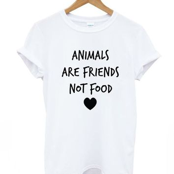 ANIMALS ARE FRIENDS not food Letters Print Women tshirt Cotton Casual Funny t shirts For Lady Top Tee Hipster Drop Ship Z-386