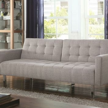 Light grey woven fabric upholstered folding sofa / futon bed with tufted accents