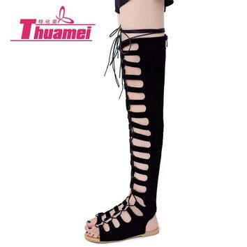 Thuamei Over The Knee Sandals Hollow Sexy Flats Women Sandals Spring Summer Autumn Shoes Gladiator #Y0639918F