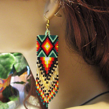 Native American Inspired Green Beaded Fringe Dangle Earrings/Drop Dangle Earrings/Southwestern Design Earrings/Casual Jewelry/Accessories