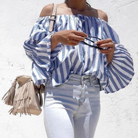 Blue Striped Off the Shoulder Bell Sleeve Blouse