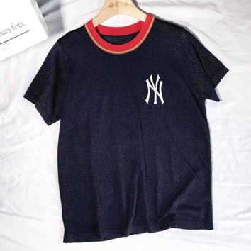NY Summer New Fashion Bust Embroidery Letter Leisure Women Top T-Shirt Dark Blue