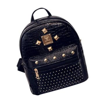 Bolsas 2017 Vintage Leather Travel Backpack Women Travel Cute Zipper School bags for girls Backpacks Mochila escolar Black