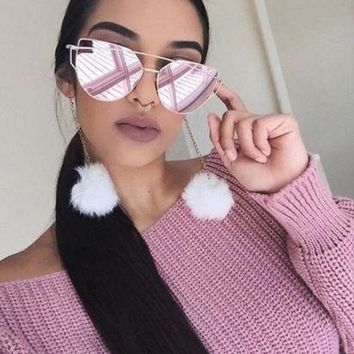 """Large Cat Eye """"Love Punch"""" Flat Top Flat Lens Mirror Reflective Lens Gently Me"""