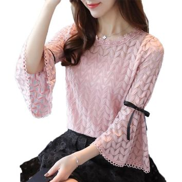Spring Fashion Solid Lace Shirts Women Blouses Long Sleeve O-neck Hollow Out Bow Flare Sleeve Shirt Women Tops Lace Blouse