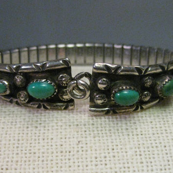 Vintage Sterling Silver Eula Wiley Watch Band/Tips  - Ladies - Sterling Silver Ends with Turquoise