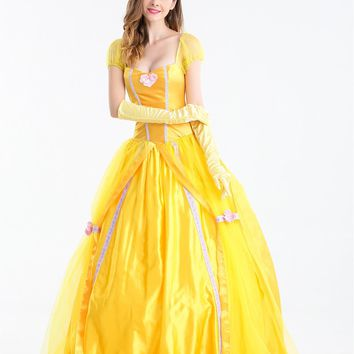 MOONIGHT New Women Halloween Cosplay Southern Beauty And The Beast Adult Princess Belle Costume Yellow Long Dress