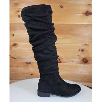 Knee Boots Black Vegan Suede Slouchy Shaft Flat Sole