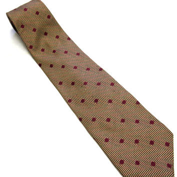 Brown Maroon Red Necktie Italian Silk Tie