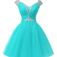 APTRO Girl's Tulle Rhinestones Cap Sleeves Princess Dress Color Aqua Size M
