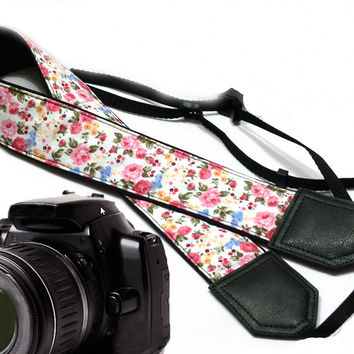 Floral Camera Strap. DSLR / SLR Camera Strap. Photo Camera accessories. For Sony, canon, nikon, panasonic, fuji and other cameras.