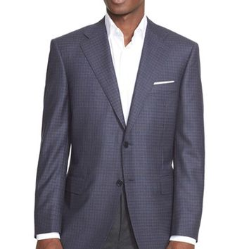 Canali Classic Fit Plaid Wool Sport Coat,