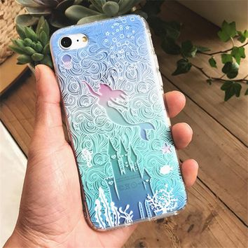 3D Shockproof Soft TPU Phone Case for iPhone 7 6 Transparent Cartoon Alice in Wonderland Phone Cases Cover for Iphone 7 6s Plus