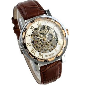 Luxury Mans Leather Band Stainless Skeleton Mechanical Wrist Watch