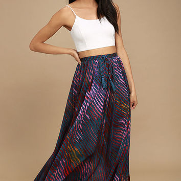 Free People True to You Navy Blue Print Maxi Skirt