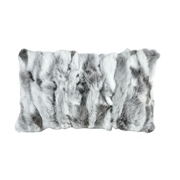 Heavy Petting Genuine Rabbit Fur Lumbar Pillow in Grey and White