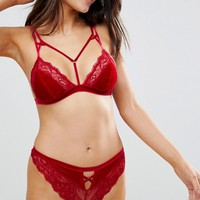 ASOS Crystal Red Velvet Thong at asos.com