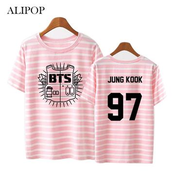ALIPOP KPOP BTS Bangtan Boys Album Stripe Shirts K-POP Classic Cotton Clothes Tshirt T Shirt Short Sleeve Tops T-shirt DX321
