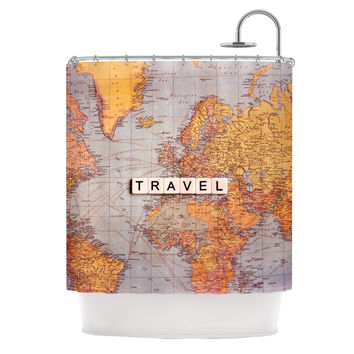 "Sylvia Cook ""Travel Map"" World Shower Curtain"